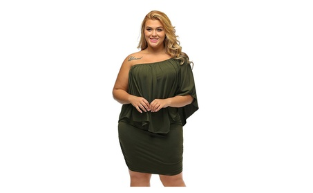 Women's Plus Size Off Shoulder 3/4 Sleeve Ruffle Party Mini Dress b3a46c7c-2f6c-4215-86e5-fb87c7c9df61
