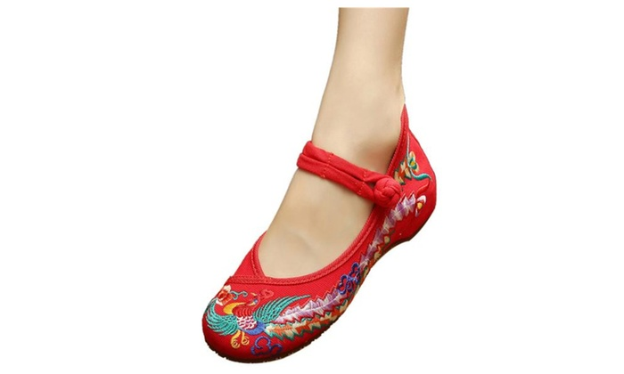 Women's Round Toe Pheoniex Embroidered Ballet Flat Mary Jane Shoes