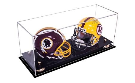 Double Mini Football NFL Helmet, Mini Goalie Mask Display Case 57dea9cf-12fd-42c0-bc85-c5efcba2e4df