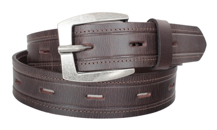 Toneka Men's Casual Solid One Piece Genuine Cowhide Leather Belt 38MM