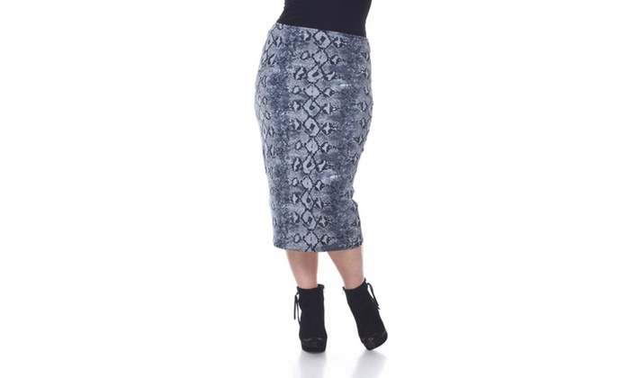 Grey Snake Plus Cynthia Pencil Skirt