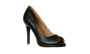 Riverberry Women's Julia Slight Platform Open Toe High Heel Pumps