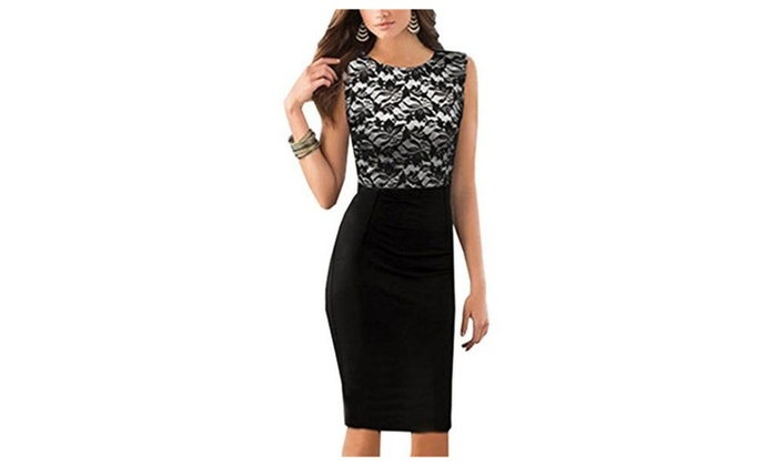 Little Love Women's Sleeveless Business Lace Stitching Pencil Bodycon Dress