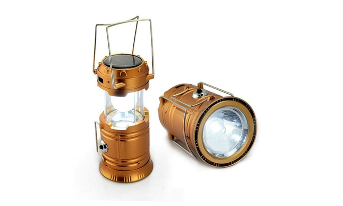 2 In 1 Camping Lantern LED Solar Rechargeable Camp Outdoor Light
