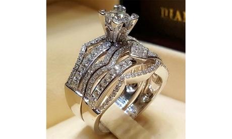 Women's 925 Sterling Silver Wedding Engagement Ring Set