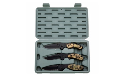 3-Piece Camouflage Hunting, Camping And Survival Locking Knife Set W/ Case