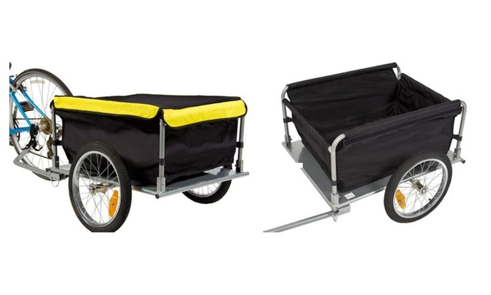 Bike Cargo Trailer Bicycle With Cover Shopping Cart Carrier Tow Hauler