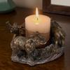 Evelots Elephants On Parade Bronze Candle Holder