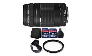 Canon EF 75-300mm f/4-5.6 III + Filters and  32GB Bundle at The Teds Store, plus 6.0% Cash Back from Ebates.