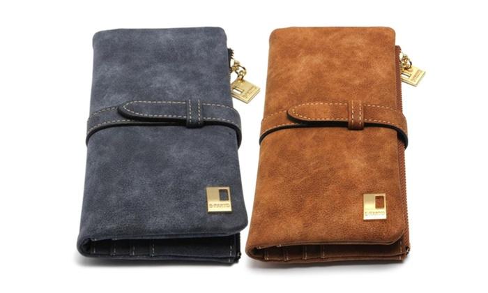 Women Wallets Dark Blue or Brown Zipper Suede Leather Clutch
