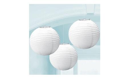 5 Pcs Chinese Paper Round White Lantern Decoration 40c45875-f8d9-4641-a299-039879010a2b