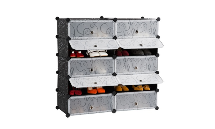 LANGRIA DIY Shoe Rack, 10 Cube Storage Drawer Unit Multi Use ...