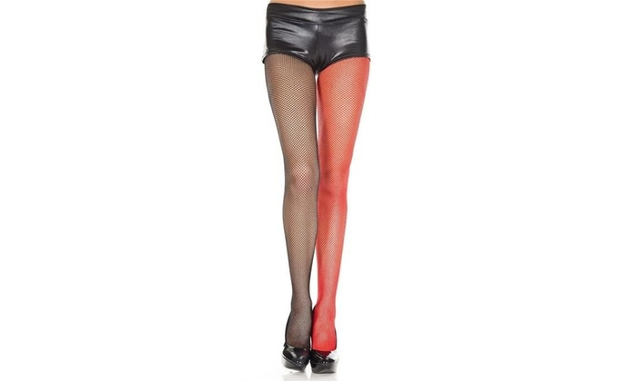 b1545ffd3d68b Music Legs 90019-BLACK-RED Fishnet Jester Pantyhose Black & Red Single Black  & Red