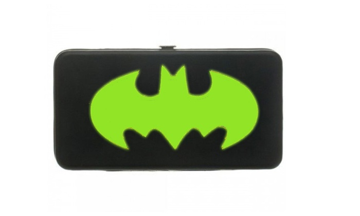 DC Comic Neon Logo Batman Hinge Wallet Purse - Black