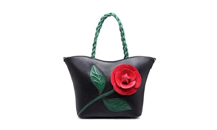 Women ClutchPU Leather Crossbody Flower Weave Handle Bags