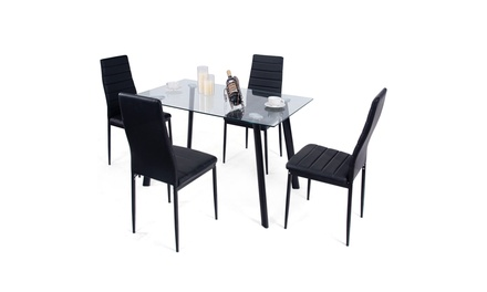 Modern Glass Dining Table Set w/ 4 Top & PVC Leather Chair Black