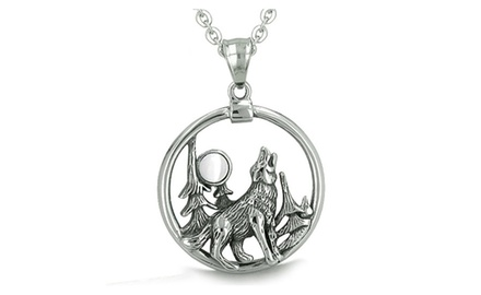 Amulet Medallion Howling Wolf and Moon Forces of Nature Positive and Protection Powers Pendant Necklace