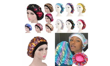 Women Satin Night Sleep Cap Hair Bonnet Hat Silk Head Cover Wide Elastic Band