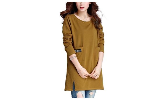 Women's Solid Regular Fit Straight Hem Casual Pullovers