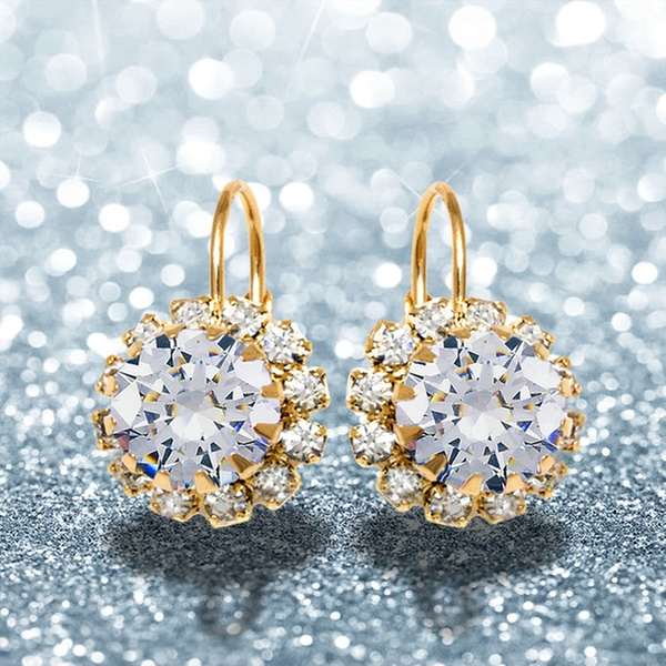 2e1792f691ca6 18K Gold Plated Huggie Earrings Made with Swarovski Elements by Barzel