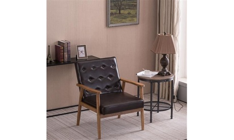 PU Leather Upholstered Lounge Wooden Arm Chair for Living Room Bedroom