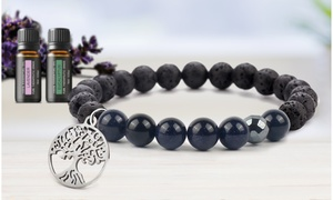 Lava Stone Tree Of Life Diffuser Bracelet with Optional Essential Oils