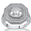 3.15 TCW Ascher-Cut CZ Halo Hexagon Ring in Platinum over .925 Silver