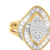 10k Yellow Gold 0.85 CTTW Round and Baguette Diamond Ring (J-K, I2-I3)