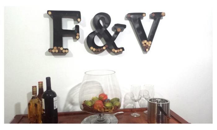 Metal Monogram Wine Cork Holder   Letter Wine Cork Holder | Groupon