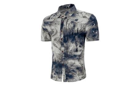Men'S Vintage Ink Printing Casual Wild Short-Sleeved Shirt Floral a25646cc-e5b6-40d2-a418-e4e0a8820f7a
