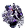 Purple Water Drop Cubic Zirconia Butterfly Crystal Ring for Women