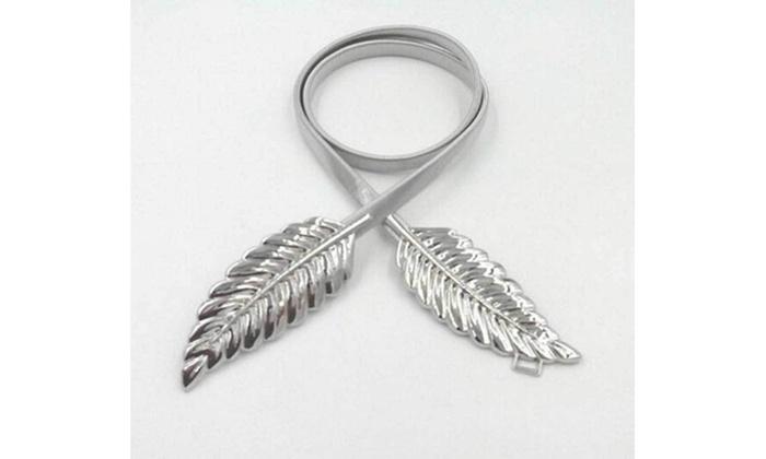 db63485b9 Women Belt Gold Silver LEAF Elastic Metal Stretch High Waist Dress  Cummerbund Silver