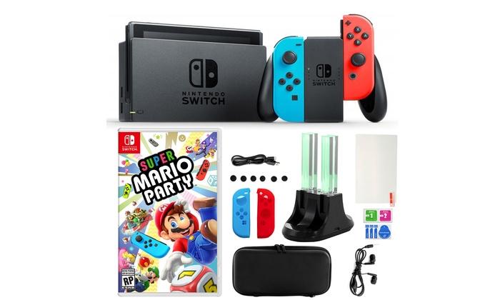 Nintendo Switch Neon Joy Con Mario Party 14 In 1 Accessories Kit