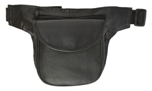 Multi-function Black Leather Waist Packs - Fanny Pack