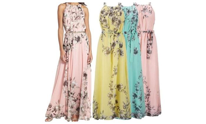 Ladies Summer Long Maxi Evening Party Dress Beach Dresses