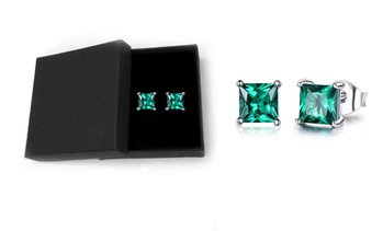2.00 CTTW Sterling Silver Emerald Princess Cut Studs