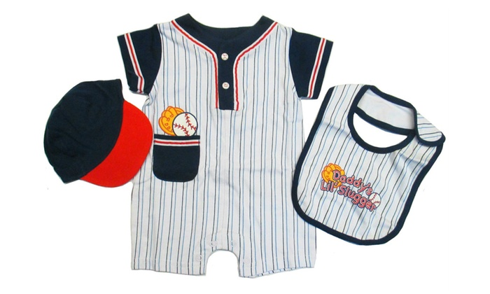 1666aaa365191 Newborn Baby Boy Bodysuit Romper Bib Baseball Hat Cotton Outfit Set ...