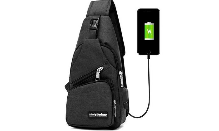 Men/'s Sling Bag Genuine Leather Chest Shoulder Backpack Crossbody Satchel Packs