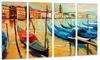 Colorful Venice Landscape Painting Metal Wall Art 48x28 4 Panels