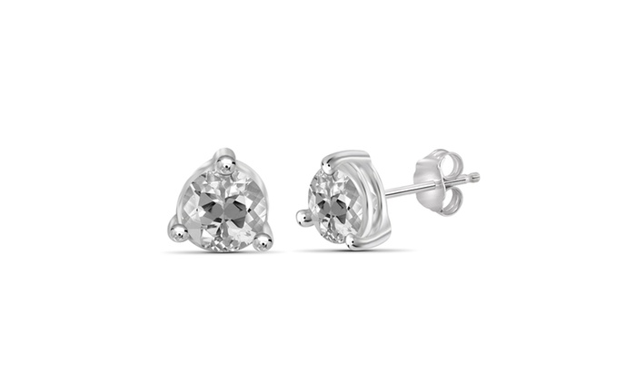 Groupon Goods Jewelonfire 1 85 Carat Genuine White Topaz Stud Earring In Silver
