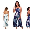 Women's Leaf Print Sexy Off Shoulder Strapless Wide Pants Jumpsuits
