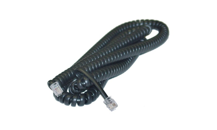 Headset to Phone Cord (Voice), RJ22, 4P / 4C, Coil, Reverse, 25 Foot