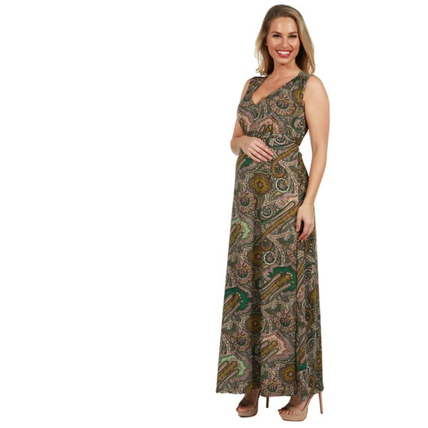 f5b15bbc21883 24Seven Comfort Apparel Zooey Empire Waist Maternity Maxi Dress ...
