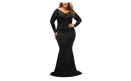 Women's Plus Size Off Shoulder Long Sleeve Formal Gown Dress b12bcce8-6f5f-4044-90a3-67b03e8a08d6