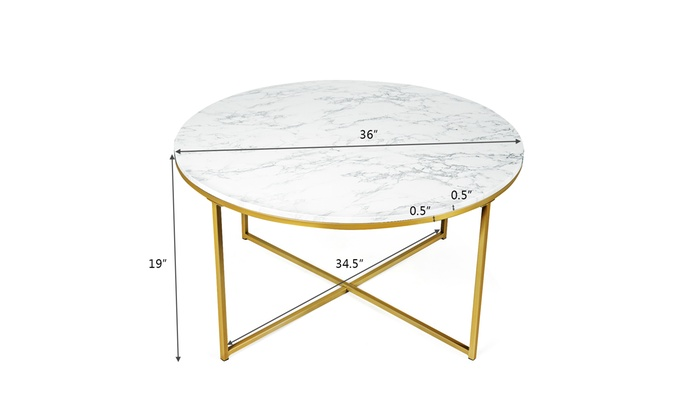 Modern Round Accent Side Coffee Table Faux Marble Top W Metal