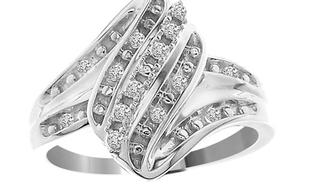 1/10 cttw Round Real Diamond Ladies Engagement Ring Solid 10K White Gold