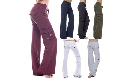 Women's Stretch Button Yoga Pants Wide Leg Sweatpants Bootleg Pants With Pockets