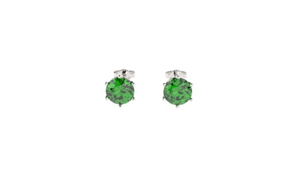 Sterling Silver Stud Earrings with 2CTTW Emeralds