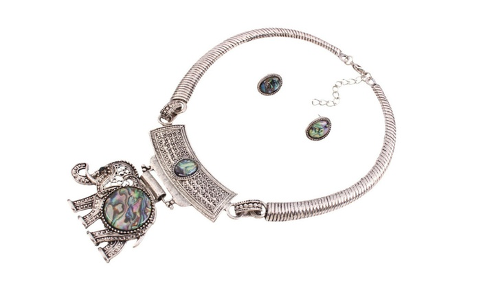 1141b1993aed7 Antique Resin Elephant Necklaces Stud Earrings Sets | Groupon