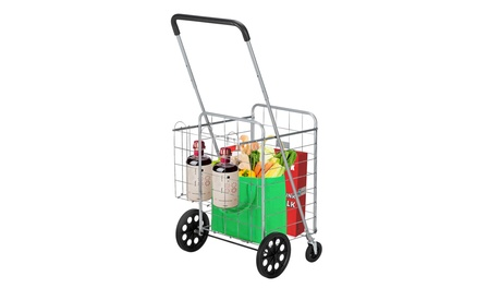 Folding Shopping Cart, Utility Cart for Grocery, 110 lbs Max Capacity